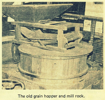 The old mill hopper and mill rock at Ray's Mill.  Image source:  Colquitt Electric Membership Newsletter (full article available at www.southermatters.com