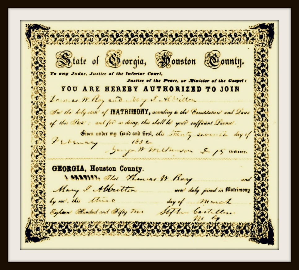 John gaskins ray city history blog marriage certificate of thomas marcus ray and mary jane albritton march 3 1852 aiddatafo Image collections