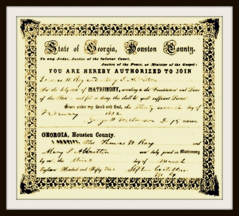 Marriage Certificate of Thomas Marcus Ray and Mary Jane Albritton, March 3, 1852, Houston County, GA.