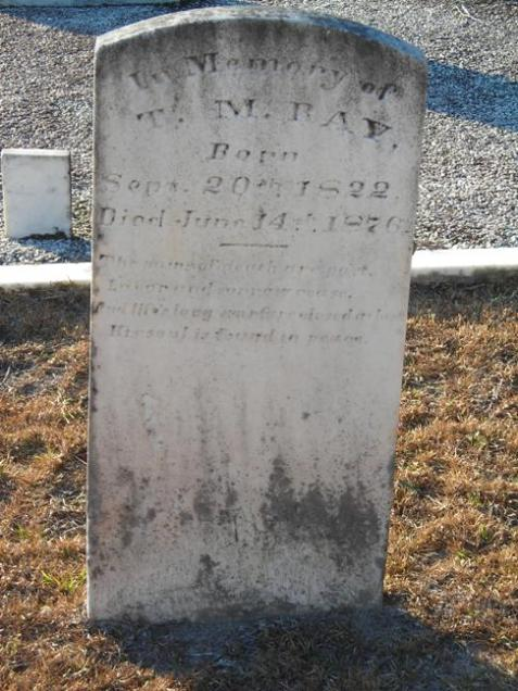 Gravemarker of Thomas Marcus Ray, founder of Rays Mill, GA.
