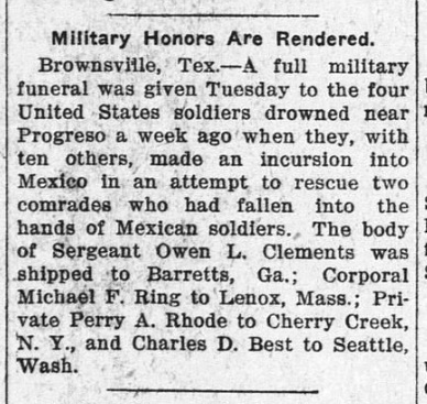 Military honors for Owen L. Clements, of Ray's Mill, GA. The Schulenberg Sticker, February 11, 1916.