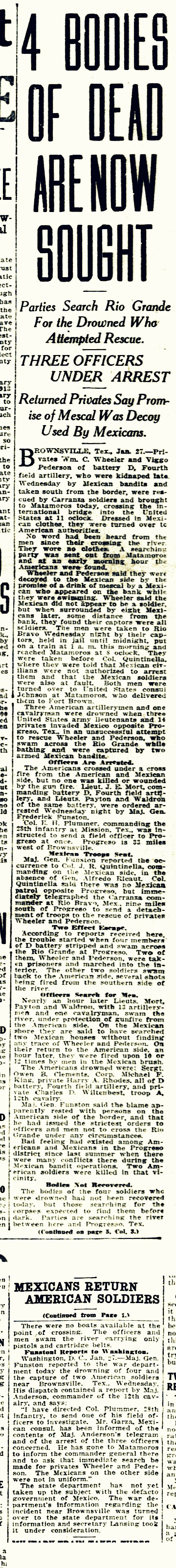 El Paso Herald, Thursday Evening, January 27, 1916, El Paso, TX. Owen Leonard Clements drowned along with three other soldiers.