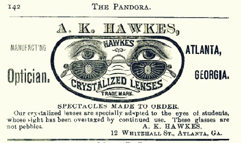 By special arrangement, the firm of A. K. Hawkes, Optician, Atlanta, GA made visits to rural drug stores, like that of Ray City, GA merchant G. V. Hardie.