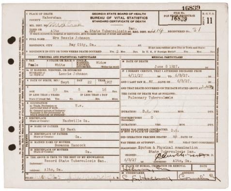 Death certificate of Bessie Nash Johnson, State Tuberculosis Sanitarium, Alto, GA