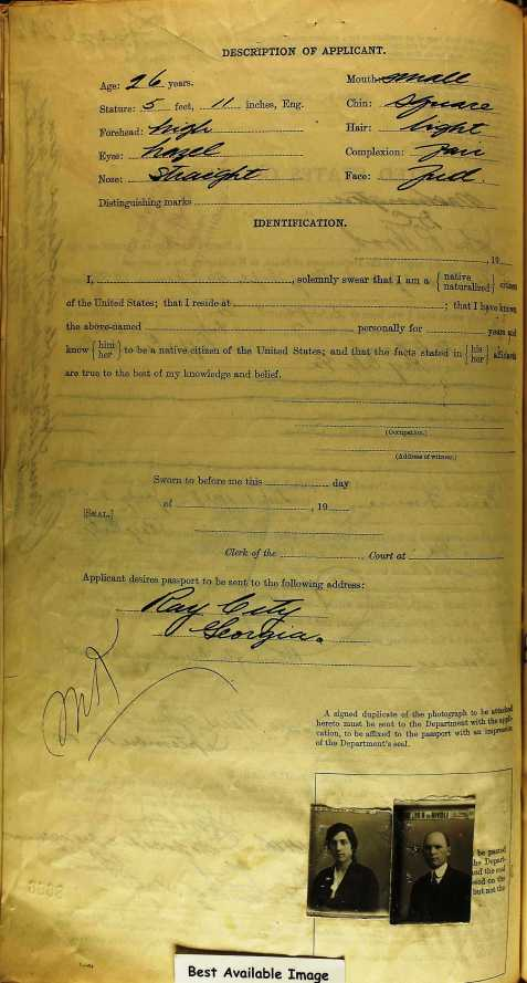John Rhodes Wood's 1920 passport application gave his permanent residence as Ray City, GA.
