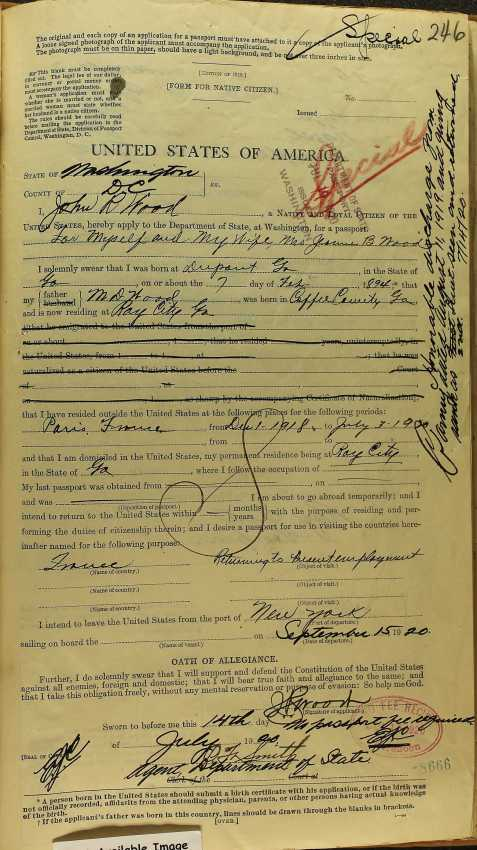 John R. Wood 1920 Passport Application
