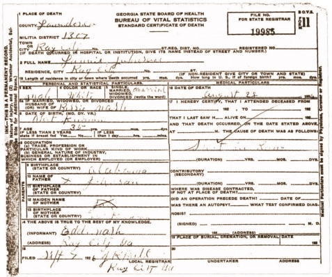 Death Certificate of Lonnie Johnson, August 28, 1926.