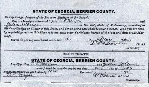 Marriage certificate of Thomas Lafayette Mixon and Julia Clance, 1905, Berrien County, GA. Image courtesy of http://royalmixon.tribalpages.com/