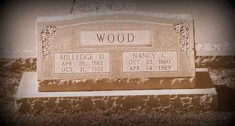 Grave marker of Milledge Dewey Wood, Beaver Dam Cemetery, Ray City, GA