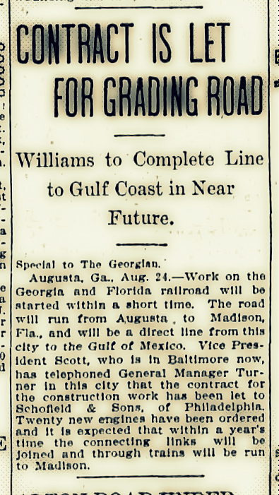 August 24, 1907, the Georgia and Florida Railroad contracts for construction of new line.