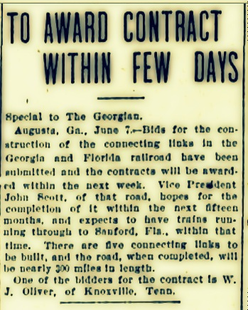 By June of 1907, the selection of a contractor for construction of the Georgia and Florida Railroad was imminent.