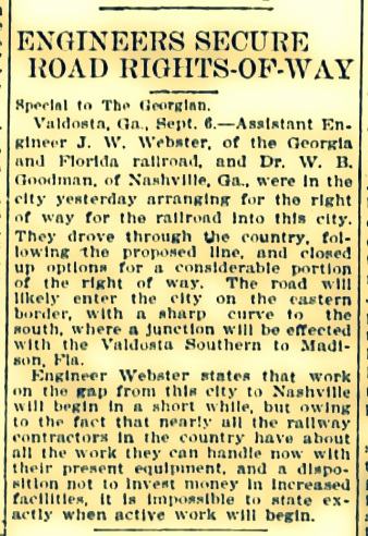 September 6, 1907 Engineers Secure Rights-of-Way for Georgia and Florida Railroad