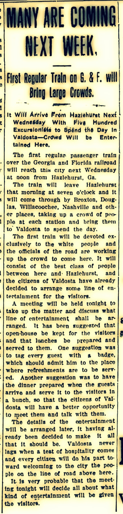 First Regular Train on the G & F, The Valdosta Times, September 26, 1908 Pg 5