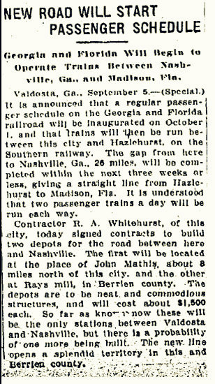 1908 announcement of the construction of a train depot in Rays Mill, GA
