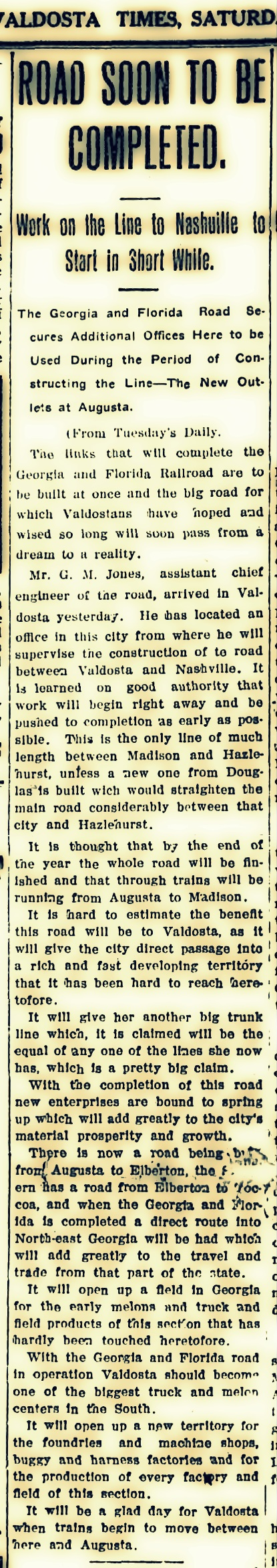 Surveying the route of the Georgia and Florida Railroad. Valdosta Daily Times, March 7, 1908