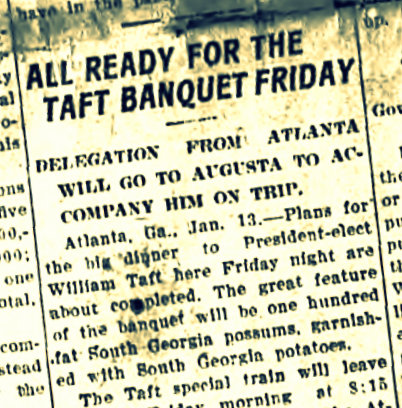 South Georgia possum was a feast for presidents. Valdosta Times, January 16, 1909.