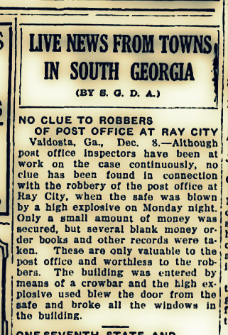 The Thomasville Daily Times-Enterprised reported on the Ray City Post Office robbery, December 8, 1921