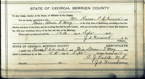 "Hosea Peeples ""Hod"" Clements and Alma Florence May were married in Berrien County, GA on September 15, 1917."