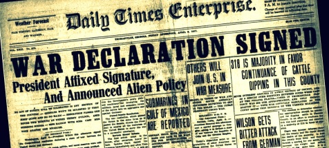 Thomasville Times Enterprise announces declaration of war, April 6, 1917.