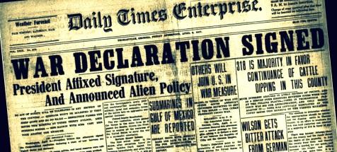 Thomasville Times Enterprise announces declaration of war, April 6, 1917.