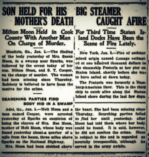 Melton Moon, aka Milton Hinson, held in the murder of his mother, Susan Moon. Thomasville Times-Enterprise, Jan 6, 1920.