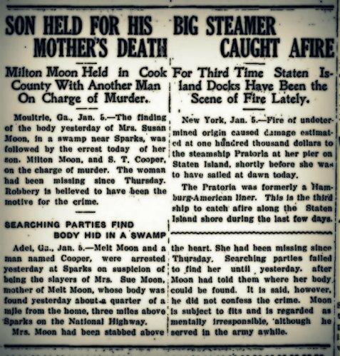 Melton Moon, aka Milton Hinson, held in the murder of his mother, Susan Moon. Thomasville Times-Enterprise, Jan 6, 1920.