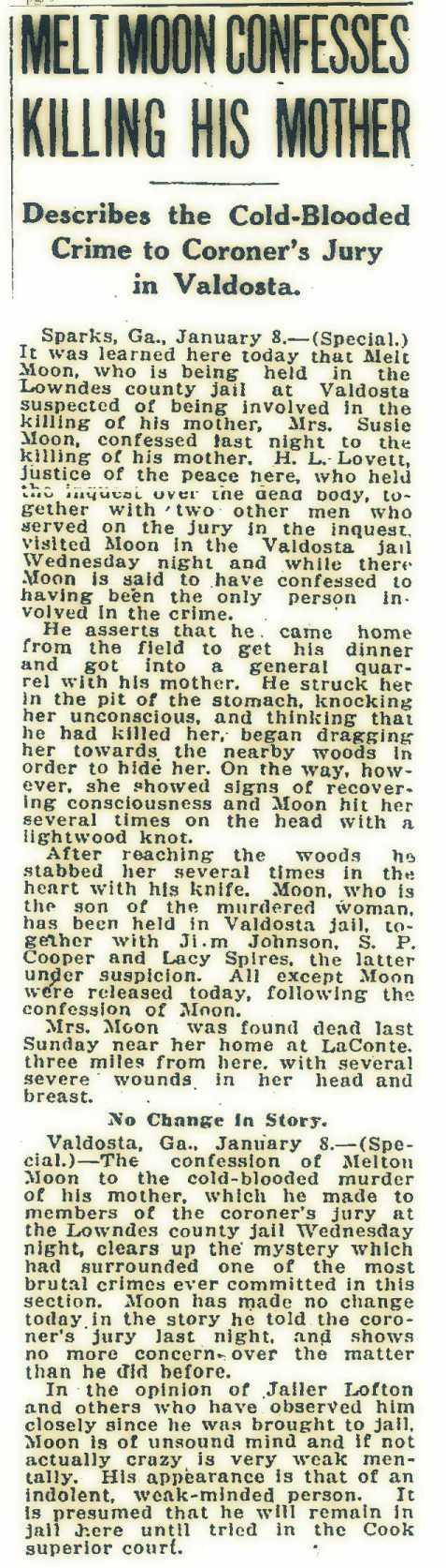 Melton Moon Confesses, Jan 9, 1920, Atlanta Constitution