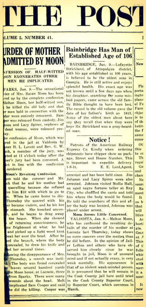 Ray City psychic Molly Hall helps solve murder of Susan Moon, aka Susan Hinton. Bainbridge Post-Searchlight, January 15, 1920.