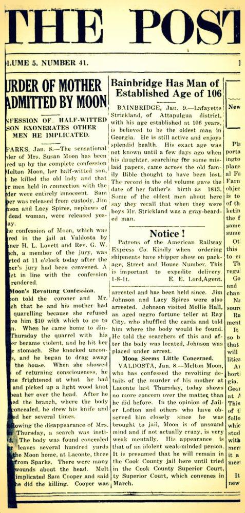 Ray City psychic Molly Hall helps solve murder of Susan Moon, aka Susan Hinton. Bainbridge Post-Searchlight, January 15, 1920.