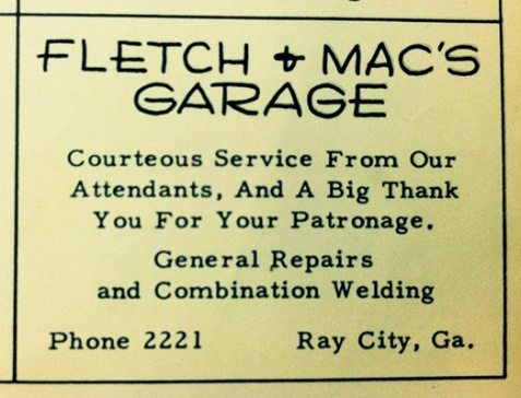 Fletch and Mac's ad from the 1952 Beaver, the Ray City School yearbook.