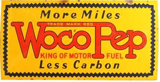 Woco Pep was a gasoline brand featured at Fletch and Mac's Garage at Ray City in the 1940s
