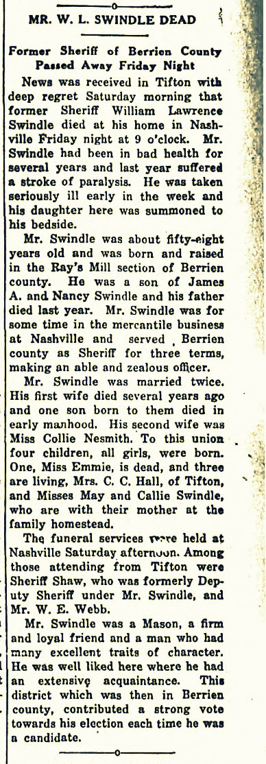Obituary of William Lawrence Swindle