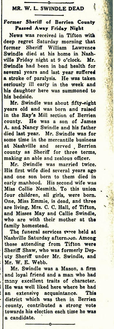Obituary of William Lawrence Swindle