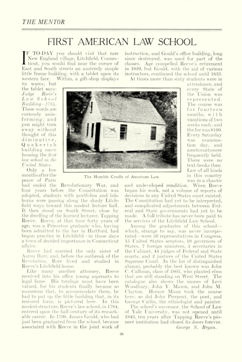 "Article on the ""First American Law School"", published 1921."