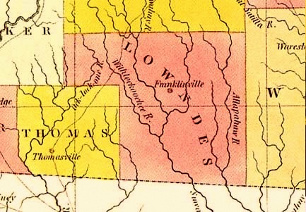 1830 Georgia map detail - original Lowndes County, showing only a conceptual location of Coffee Road, Franklinville, Withlacoochee River, and Alapaha River.