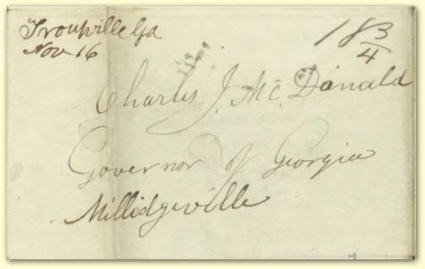 November 10, 1841 letter from Samuel Swilley to Charles J. McDonald, Governor of Georgia, posted at Troupville, GA