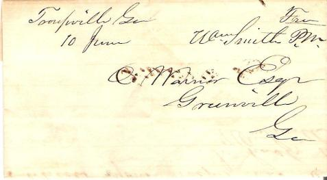 1845 letter sent from Troupville, GA had franked by Postmaster William Smith.  Image source: http://www.cortlandcovers.com/
