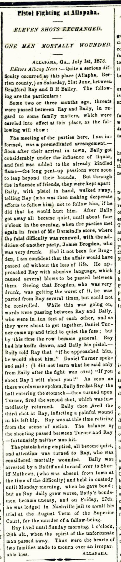 Albany News, July 4, 1873. Burrell Hamilton Bailey shoots Bradford Ray.