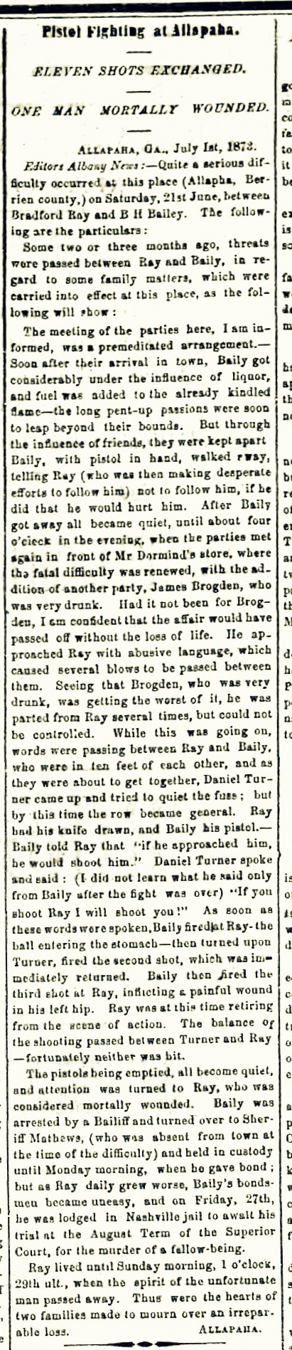 Albany News, July 4, 1873. Burrell Hamilton Bailey shoots Bradford Ray.