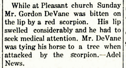 James Gordon DeVane stung by red scorpion, 1907.