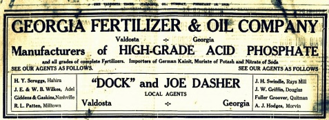 J. H. Swindle of Rays Mill was a dealer for the Georgia Fertilizer & Oil Company. 1912 Advertisement.