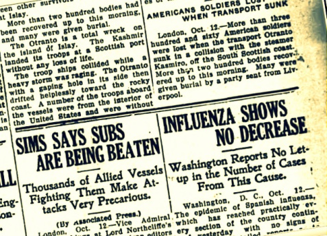 Thomasville Times Enterprise, October 12, 1918 reports spread of Spanish Flu epidemic.