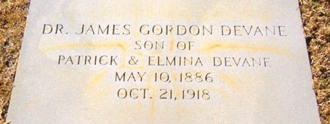Grave of Dr. James Gordon DeVane, Pleasant Cemetery, Berrien County, GA