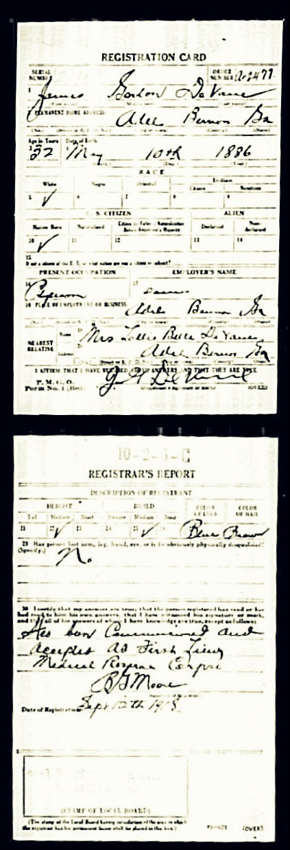Gordon DeVane, WWI Draft Registration
