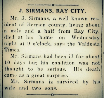 Obituary of Jay Sirmans, Ray City, GA