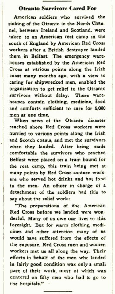 Otranto Survivors Cared For. The Red Cross Bulletin, October 21, 1918, Vol II, No. 43, pg 2.