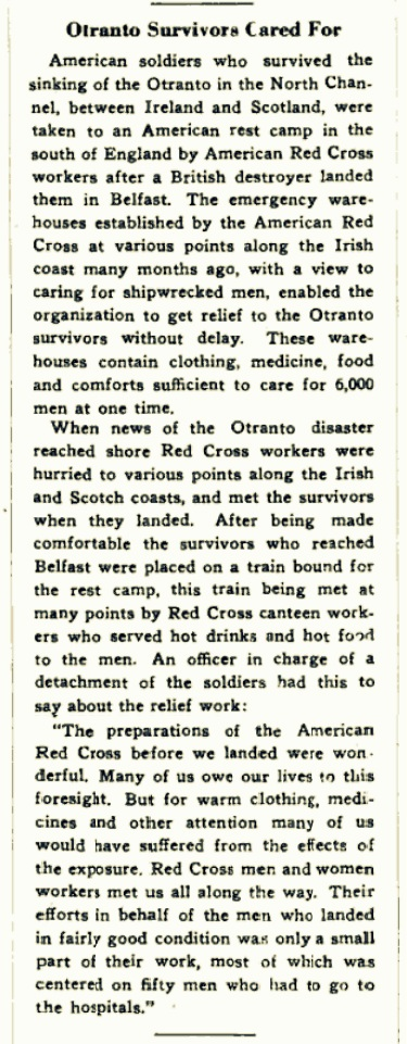 Otranto Survivors Cared For.   The Red Cross Bulletin, October 21, 1918, Vol II, No. 43, pg 2.