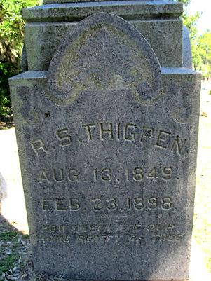 Gravemarker of Robert Silas Thigpen, Sunset Hill Cemetery, Valdosta, Lowndes County, GA.