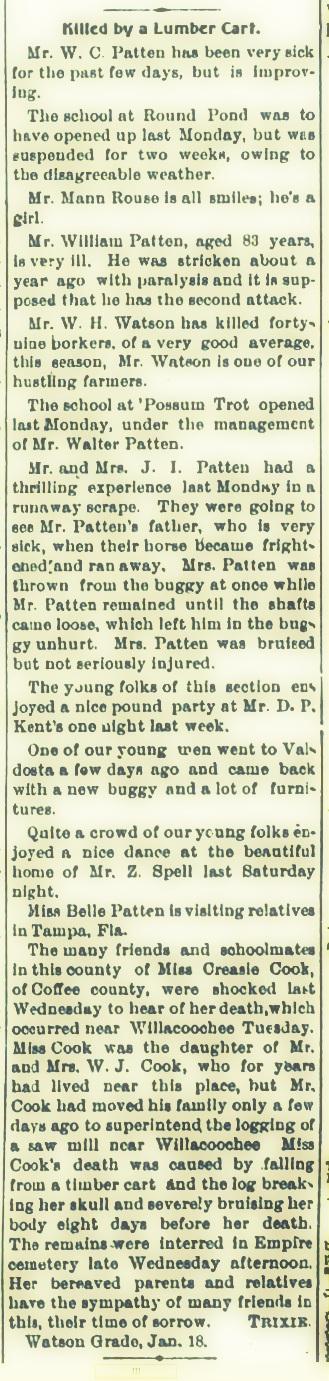 Watson Grade News in the Tifton Gazette, January 22, 1904.