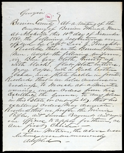 Resolutions of the Berrien Minute Men, passed December 10, 1860 at Nashville, GA